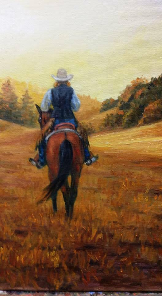 Sheila's Last Ride - Print available of painting by T.P. Haigh