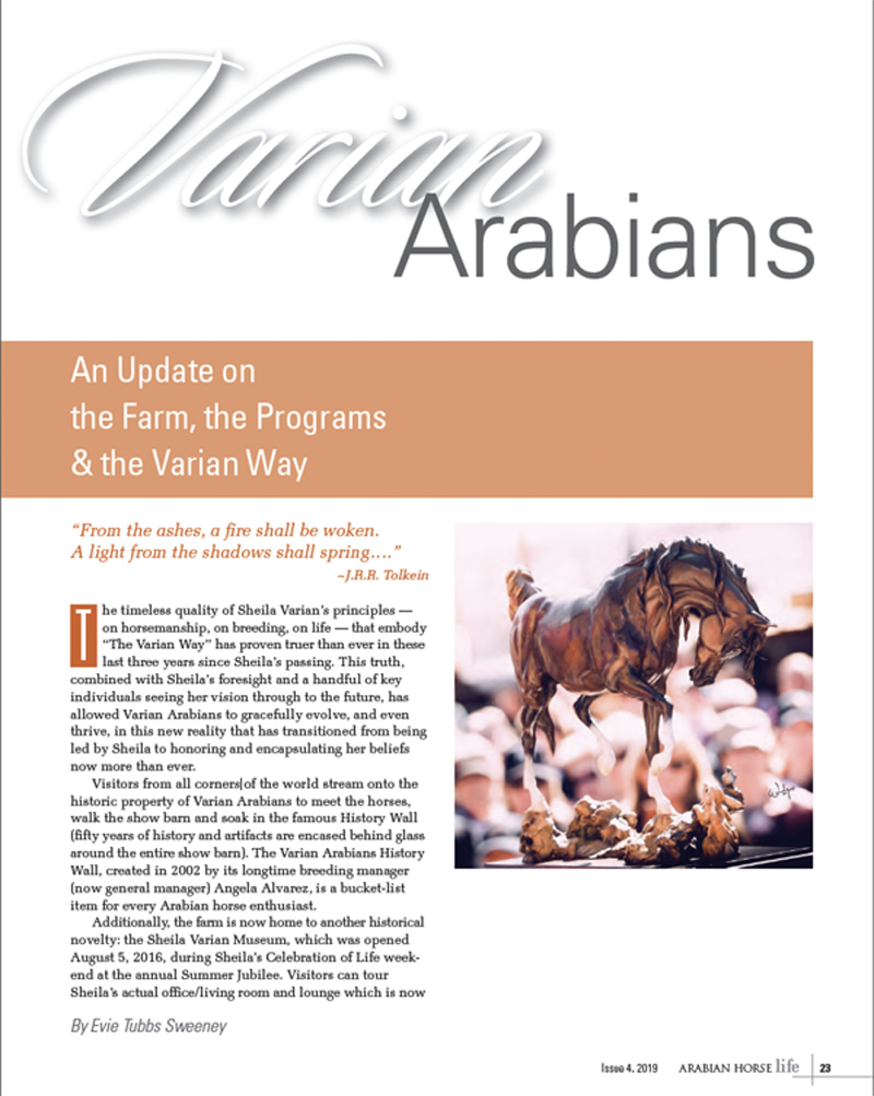 2019 AHL Magazine Article Cover - Varian Arabians Update