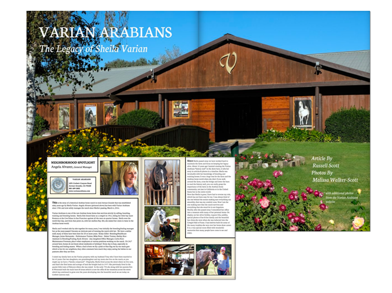 Varian Arabians featured in Arroyo Grande Living Magazine